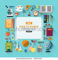 back to school flat design modern vector illustration background with education icon set. school supplies : schoolbook notebook pen pencil paints stationary training aids ball school bag etc. School Supplies List Elementary, Diy School Supplies, School Icon, Bag Illustration, Education Icon, Back To School Sales, School Logo, Geometric Logo, Creative Logo