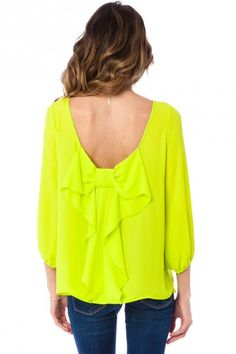 neon bow-back blouse.