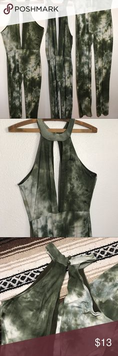 One Piece Green Tie Dye Deep Neck Halter Jumpsuit One Piece Green Tie Dye Deep Neck Halter Jumpsuit Size Small  Pants Jumpsuits & Rompers