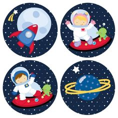 Amazon.com: Outer Space Astronaut Stickers for Boys and Girls - Kids Birthday Party Favor Stickers - Set of 50: Handmade