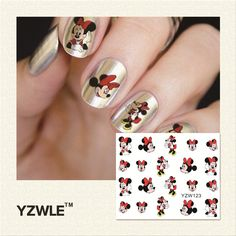 YZWLE 1 Fogli Cartoon Disegno di Bellezza Nail Art Tips Sticker Completa Involucri Acqua Trasferimento Decalcomanie