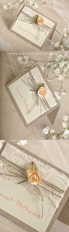 Lovely Place Card with lace & rose #weddingideas #romantic #rusticwedding