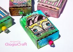 Funky matchboxes made with the free stamps