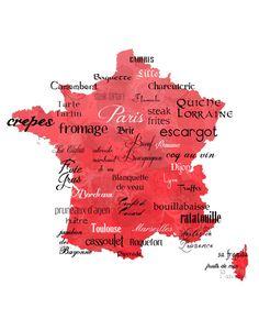Best of French Cuisine Word Art, 11x14 France Typography Map Print on Somerset Velvet Fine Art Paper via Etsy