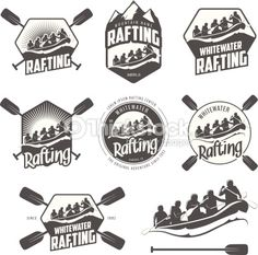 Vector Art : Set of vintage whitewater rafting labels and badges