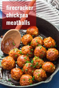 These vegan chickpea meatballs pack a mighty flavor punch! Smothered in sweet and spicy firecracker sauce and served with a sprinkling of fresh chives, they're perfect in a sandwich or as an appetizer for party snacking. #veganrecipes #veganmeatballs #firecrackersauce #chickpeas