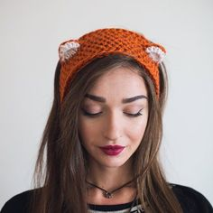 Stricken Knit Fox Headband with Ears. Crochet Woodland by NatalieKnit – Stricken Cat Ears Headband, Ear Headbands, Knitted Headband, Sewing Headbands, Chat Crochet, Crochet Baby, Crochet Mittens, Women's Earmuffs, Bandeau Crochet