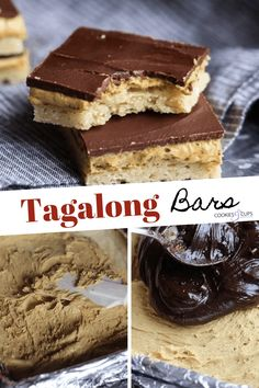 Tagalong Bars are a homemade version of the classic Girl Scout Cookie. A buttery shortbread crust with a creamy peanut butter filling, topped with rich chocolate. Best Sugar Cookie Recipe, Cookie Recipes, Bar Recipes, Recipies, Cake Mix Cookies, Yummy Cookies, Yummy Treats, Sweet Treats, Lemon Cookies Easy