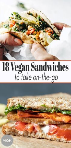 Satisfying, easy vegan sandwiches to take to the beach, on a hike, or just down to the park for a picnic! #veganlunchideas Vegan Lunch Recipes, Vegan Lunches, Vegan Foods, Vegan Dishes, Beef Recipes, Whole Food Recipes, Healthy Recipes On A Budget, Budget Meals, Easy Meals