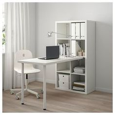 Best Images KALLAX desk combination - white Popular The IKEA Kallax series Storage furniture is an essential section of any home. Ikea Kallax Desk, Kallax Shelf Unit, Ikea Workstation, Ikea Desk Table, Diy Desk, Ikea Desk Storage, Ikea Workspace, Shelving Systems, Home Office Design
