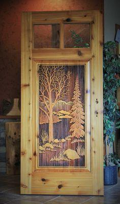 Painted Doors, Wooden Doors, Catawba Falls, Cabin Doors, Vintage Garden Decor, Wildlife Paintings, Unique Doors, Entry Ways, Cnc Router