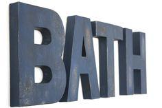 Bath Sign   Bathroom Wall Decor   Navy Bathroom   Rustic Bathroom Wall Decor    Rustic