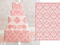 Pink damask cake #wedding #cake #pink #damask