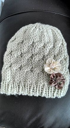 Ladies Knitted Hat Made on a Loom in Pale Green/Beige and Decorative Satin Ribbon Flower Embellishments Very Warm Womans Beanie Hat - pinned by pin4etsy.com
