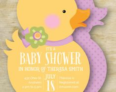 Girl Ducky Baby Shower Invitation | Girl Rubber Ducky Personalized Die Cut Baby Invite | Custom Invite | Baby Shower Invitation Custom Baby Shower Invitations, Baby Shower Invites For Girl, Baby Shower Themes, Wedding Invitations, Baby Shower Cupcake Toppers, Cupcake Party, Rubber Ducky Birthday, Handmade Gift Tags, Party Banners