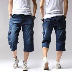 2017 Summer Denim Jeans Men Shorts Casual Solid Loose Shorts Cargo Knee Length Short Men  Big Size 38 40  A3229
