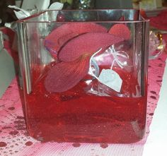 Red Orchid in Short Glass Vase