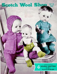 Vintage Knitting pattern for Dolls/reborn outfits Scotch wool shop 973 PDF Knitting Dolls Clothes, Baby Doll Clothes, Knitted Dolls, Doll Clothes Patterns, Doll Patterns, Baby Dolls, Knitting Patterns, Crochet Patterns, Vintage Patterns