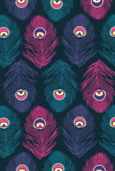 Purple, pink, and turquoise peacock feather pattern.