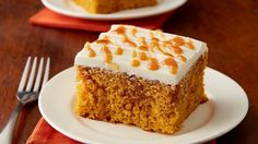 Pumpkin Caramel Poke Cake This moist pumpkin cake is poked and filled with caramel sauce, topped with cream cheese frosting and drizzled with more caramel for an easy, over-the-top dessert. Pumpkin Cake Recipes, Poke Cake Recipes, Poke Cakes, Pumpkin Dessert, Cupcake Cakes, Dessert Recipes, Pumpkin Cakes, Dump Cakes, Pumpkin Foods