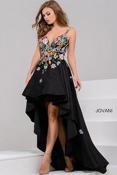 Black High Low Floral Appliques Bodice Prom Dress JP48778