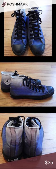 Converse Blue and White Ombré High Tops Sz 8 Men These high top Converse are size 8 and in excellent condition. They have only been worn a handful of times. The canvas moves from white to dark blue in color. The laces, toe, and sides are black. These are such cool, unique shoes! Converse Shoes Sneakers