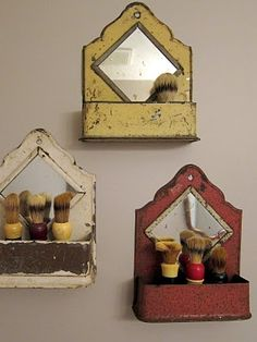 Love this idea of little boxes with shaving brushes (or maybe a collection of straight blade razors/safety razors) for a bathroom
