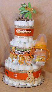 So darn cute!  3 Tier Diaper Cake Walt Disney The Lion King Baby Shower Centerpiece Boy or Girl | eBay