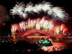2000 Sydney Olympic Games opening ceremony-fireworks on Sydney Harbour Bridge.   🌹