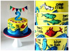 One Fish Two Fish Dr Seuss Cake #2nd #birthday #bunting