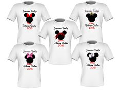 Personalized Set of 5 Disney Cruise Family Shirts T-shirts Mickey Minnie Very Nice!
