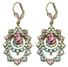Charming Dangle Earrings Created by Michal Negrin Adorned with Blue, Beige, Pink Swarovski Crystals, Decorated with Fancy Brass Ornaments and Vintage Roses