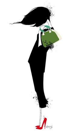 La fille dans le vent par l'illustratrice française Ennji