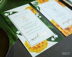 South Indian (Konkan) wedding invite with marigolds, jasmines & banana leaves along with gold foil pressing on handmade paper. Marigold Wedding, India Wedding, Traditional Indian Wedding, Indian Wedding Invitations, Banana Leaves, Gold Foil, Invites, Template, Weddings