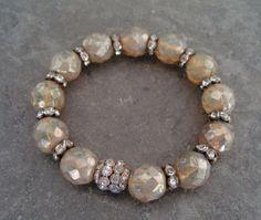 Vintage rhinestone Stretch bracelet 'BYGONES - Beige Opal' eco chic stack bracelet metallic tan neutral luxe bohemian
