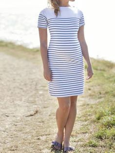 New Ex JoJo Maman Bebe White Blue Breton Stripe Maternity Dress Size M