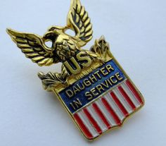 WWII Sterling Silver Enamel Daughter in Service Pin Coro WAC WAVES SPAR WASP  #Coro