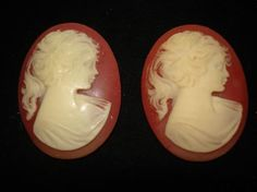 Vintage Resin Cameo Brooches Pins