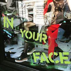"""In your face"" #40yearsofpunk @libertylondon #libertylondon #punk #window #visualmerchandise"