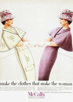 """links to vintage clothing ads Carrie - she was once quoted as saying as soon as she met a woman she """"began to dress them.""""  She owned an upscale boutique."""