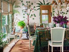 All Posts • Instagram Architectural Digest, Cabana Magazine, Wicker Armchair, Funky Wallpaper, Jessica Hart, Checkered Floors, Vintage Dining Chairs, Clarence House, Table Design