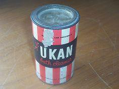 Rare Old Full Australian Imperial Metters Ukan Porcelain Enamel Bath Cleaner Tin