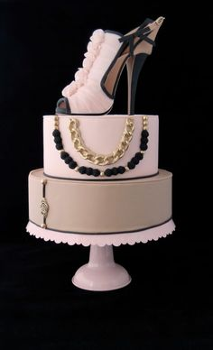 """Fashionista "" Blush/beige/black stiletto….and a touch of bling. ~ all edible"