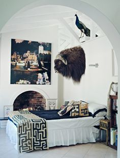 Love the textiles and unexpected art // bedrooms