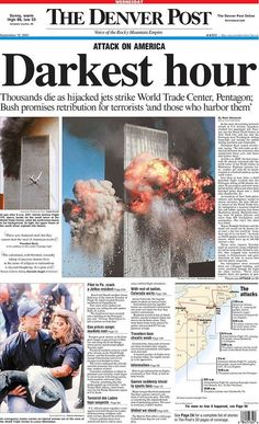 The cover of the Denver Post on September Always remember. Newspaper Front Pages, Vintage Newspaper, Newspaper Design, Newspaper Article, 11 September 2001, Remembering September 11th, Remembering 911, World Trade Towers, World Trade Center Nyc