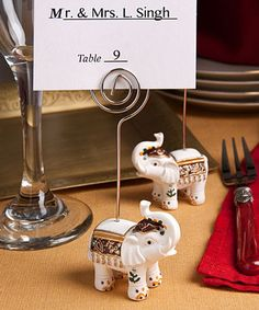 Good Luck Elephant Place Card Holders - marque place elephant