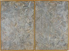 #JasperJohns, The Dutch Wives, 1975, Encaustic and collage on canvas (two panels mounted together). Collection of Jasper Johns. Art © Jasper Johns/Licensed by VAGA, New York, NY, included in the Jasper Johns: The Crosshatch Prints and the Logic of Print at Harvard' Arthur M. Sackler Museum.