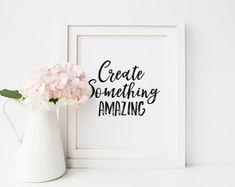 """Create something amazing"" printable poster -- The White Rose Writers on Etsy by WhiteRoseWriters on Etsy Inspirational Posters, Motivational Posters, Feeling Discouraged, Author Quotes, Printable Quotes, Creative Decor, Encouragement Quotes, Writing Inspiration, White Roses"