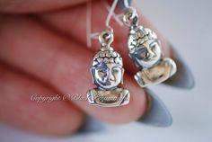 Shakyamuni Buddha Earrings - Sterling Silver Gautama Buddha Charms - Free Domestic Shipping $25