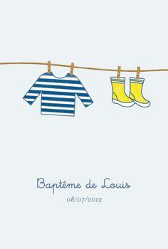 Menu de baptême Marin by Tomoë pour FairepartNaissance.fr #rosemood #atelierrosemood #baptism